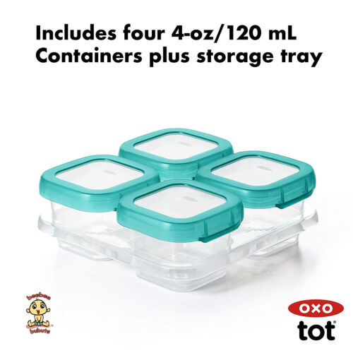 OXO Tot Baby Blocks Freezer Storage Containers (4 Oz) Teal Authentic Brand New