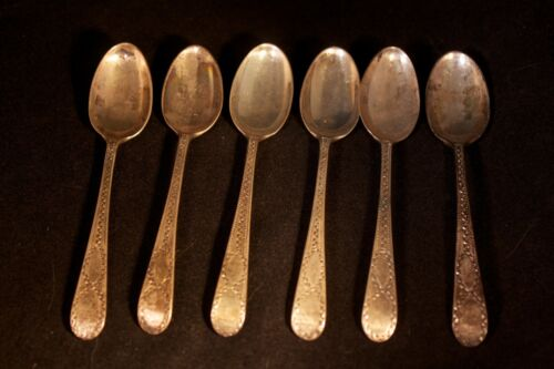 """6 Antique Richard Crossley Beautifully Decorated 4.5"""" Sterling Spoons Ca. 1806"""