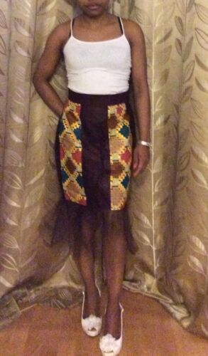 African print pencil skirt with lace