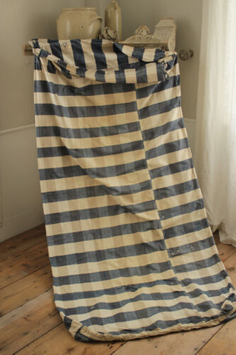 Fabric Blue check linen & cotton 1700's Primitive French old mattress cover