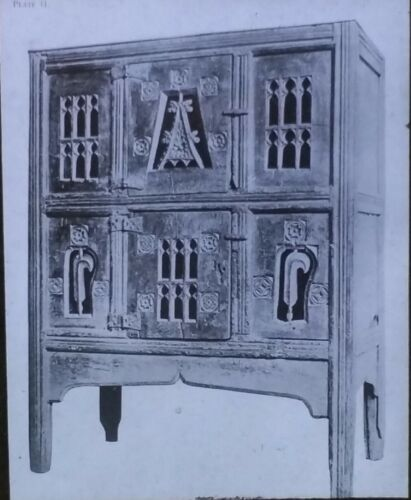 Magic Lantern Glass Slide, 16th c. (c. 1500) Cupboard with Gothic Tracery