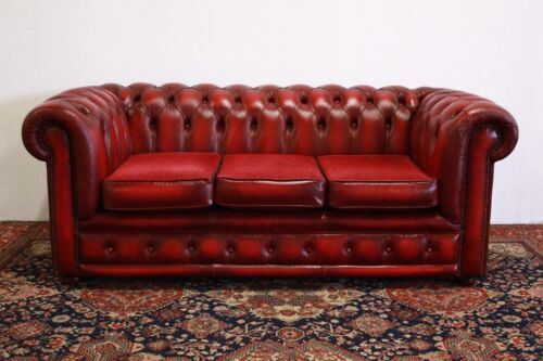 Divano 3 posti chesterfield chester club originale inglese in pelle bordeaux