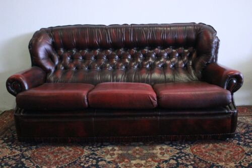 Divano 3 posti chesterfield chester inglese colore bordeaux / pelle / originale