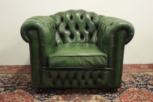 POLTRONA CLUB CHESTERFIELD CHESTER IN PELLE VERDE GREEN / ORIGINALE INGLESE