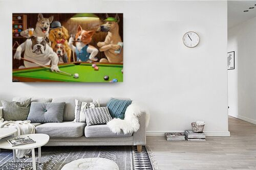 Home Art Wall Dogs Playing Pool billiards Oil Painting Picture Printed,24x36inch