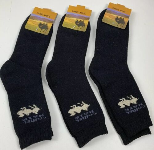 X3 PAIRS Wool Socks Camel Soft Warm XXXL Black Mongolia Winter Camping Skiing AU