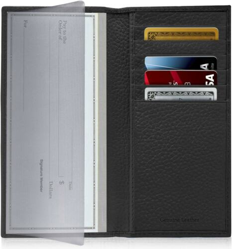 New Leather Checkbook Cover Card Holder Wallet W/ ID Window Unisex RFID Blocking