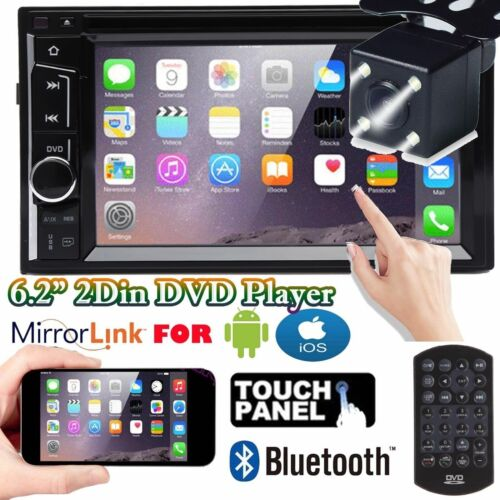 "Mirrorlink For Android IOS Double 2DIN 6.2"" DVD Stereo Bluetooth+Rearview Camera"