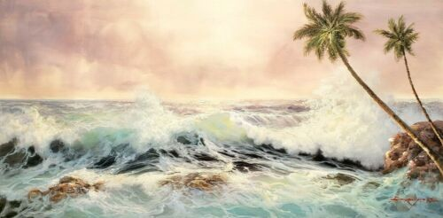 Ocean Wave - # 11,   24x48  100% Hand Painted Oil Painting on Canvas