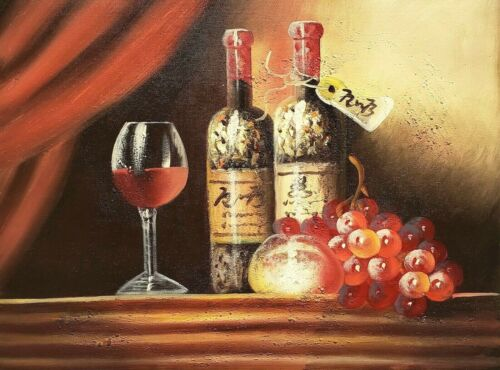 Wine Bottles - #1, 12x16  100% Hand Painted Oil Painting on Canvas