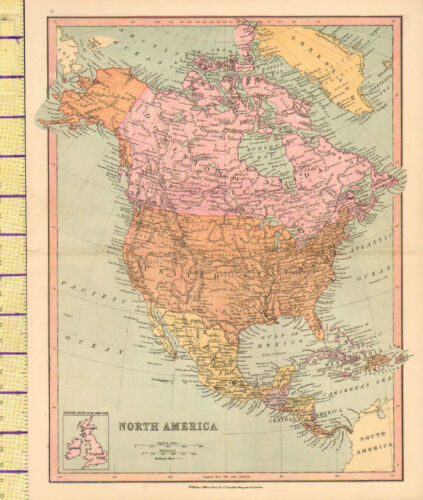 c1880 MAP ~ NORTH AMERICA ~ DOMINION OF CANADA UNITED STATES MEXICO CUBA HAITI