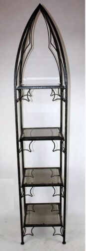 Modern Iron Obelisk Etagere Vitrine with Beveled Smoke Glass Shelves