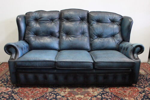 Divano chesterfield chester inglese 3 posti blu in pelle originale / leather