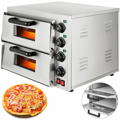 Electric 3000W Pizza Oven Double Deck Cooking Toaster Commercial Stainless Steel