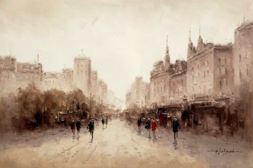 European Street, Impression  #3, Oil Painting on Canvas, 24x36,100% Hand Painted