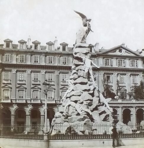 Monument of Mt. Cenis in Turin ITALY Antique Magic Lantern Glass Photo Slide