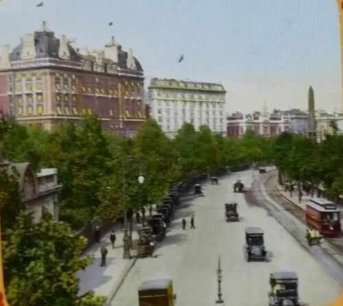 Victoria Embankment with Hotels Cecil & Savoy ENGLAND Magic Lantern Glass Slide