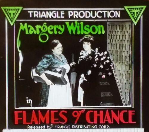 Flames of Chance MARGARY WILSON Movie Preview Ad Magic Lantern Glass Slide
