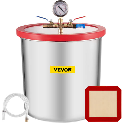 5 Gallon Vacuum Chamber Stainless Steel with 220V Pump Degassing silicone gasket <br/> ♪♪ Less Noise ♪♪ Portable Handles ♪♪ 2-Year Warranty