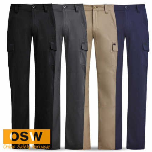 MENS MODERN SLIM FIT TRADIES COMFORTABLE COOL COTTON DRILL CARGO WORK PANTS