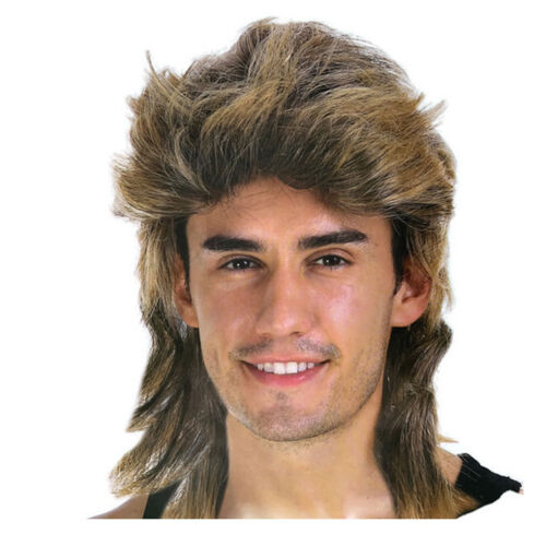 Men/'s Mullet Hair Wig Hippies 70s 80s  Bogan Fancy Dress Up Costume Brown