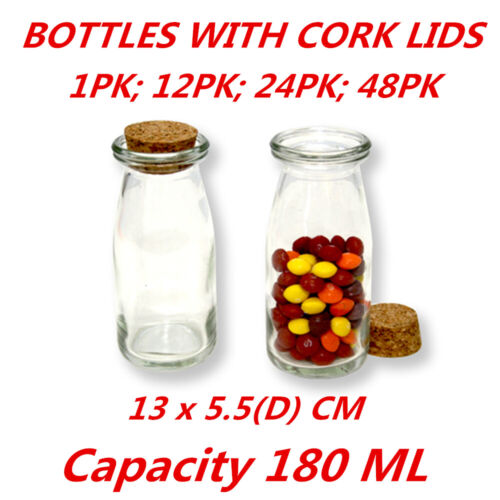 15pcs 60ml 37x80x27mm Small Glass Candy Jars with Cork Stopper Lid for Wedding