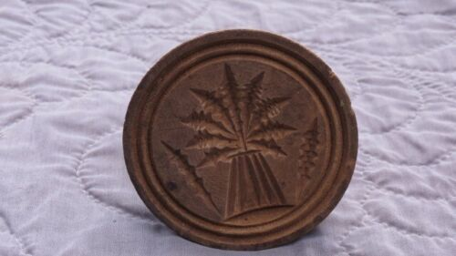 Antique Primitive Wood Butter Mold Wheat Sheaf Cheese Press Americana Carved