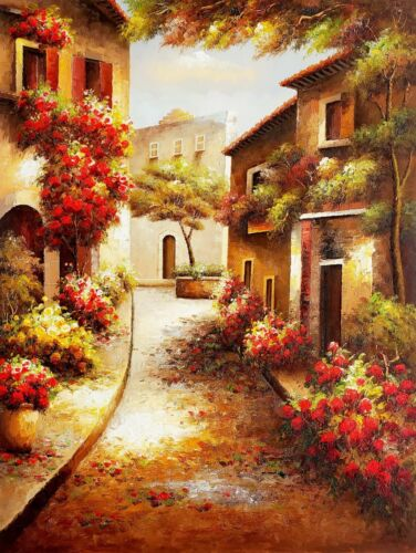 Tuscan Village,  36x48- 100% Hand Painted Oil Painting on Canvas
