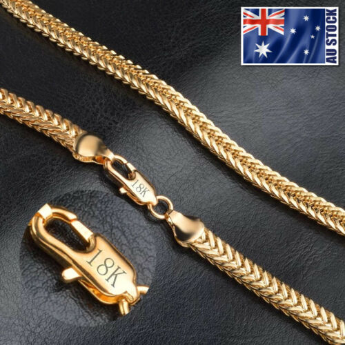 Mens 18K Yellow Gold GP 6MM Double Curb Chain Solid Link Necklace Stunning Gift