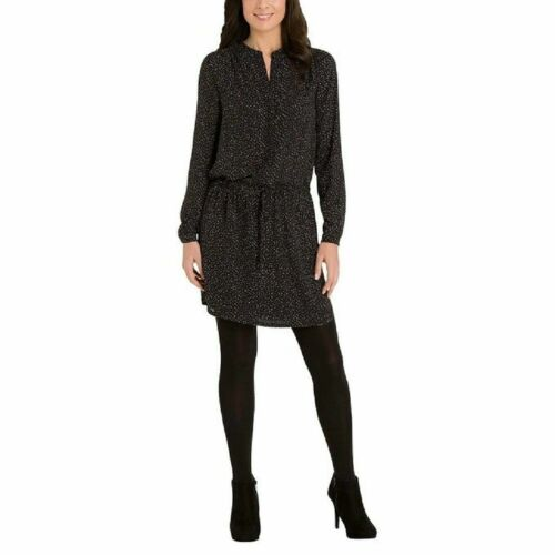 Hilary Radley Women's Printed Tunic Dress with Opaque Tight Black Dot Size S