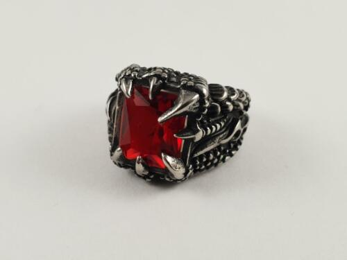 Stainless Steel Claw ring red jewel centre biker dragon goth fantasy ruby garnet