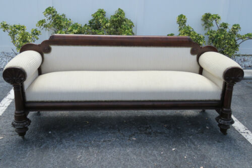 Early 1800s Empire Federal Flame Mahogany Long Bench Couch Sofa 9808