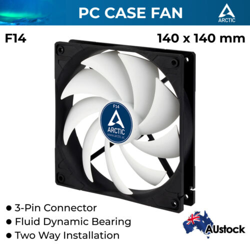 Computer Case Fan PC 140mm Silent Fluid Bearing 1350 RPM 3-pin Arctic Cooling