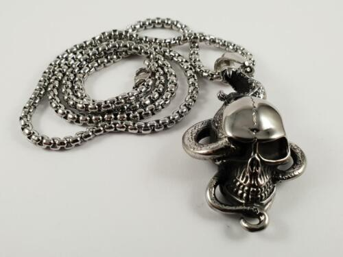 Stainless Steel Skull with snake through biker pendant and necklace 60cm chain