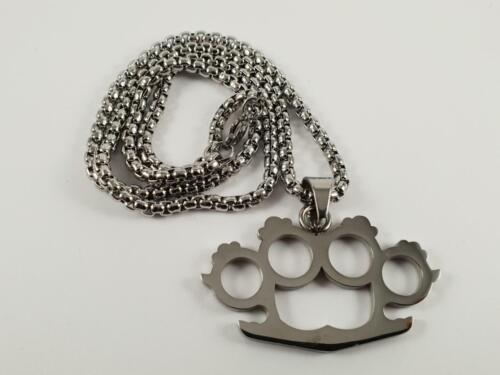 Stainless Steel Knuckle Duster biker pendant and necklace 60cm chain brass bikie