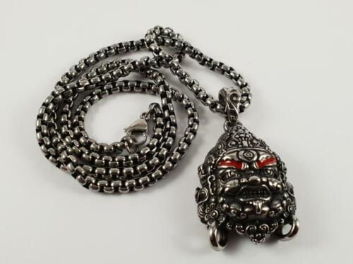 Stainless Steel Tribal Warrior biker pendant and necklace 60cm chain Mayan inca