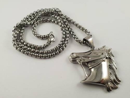 Stainless Steel Horse Head pendant and necklace 60cm chain pony stallion Mare