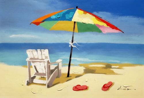 On the Beach,  24x36 Hand painted on Giclee Canvas