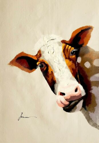 Brown Cow,  24x36 Hand painted on Giclee Canvas