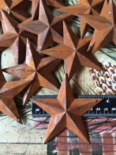 """Lot of 25 Rusty Barn Stars 3.75 in 3 3/4"""" Primitive Country 2D Rust Craft Supply"""