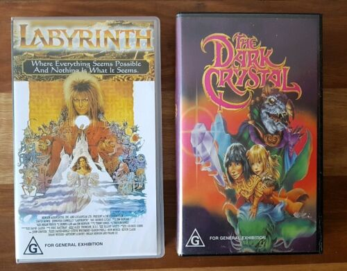 Labyrinth & The Dark Crystal Vintage Collectable VHS Tapes Jim Henson PAL