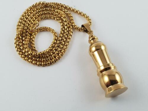 Gold Toned Stainless Steel Stash pendant and chain pill box necklace security