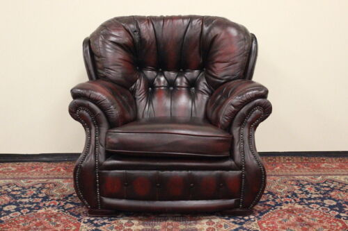 Poltrona bergere Chesterfield chester pelle bordeaux scuro original UK
