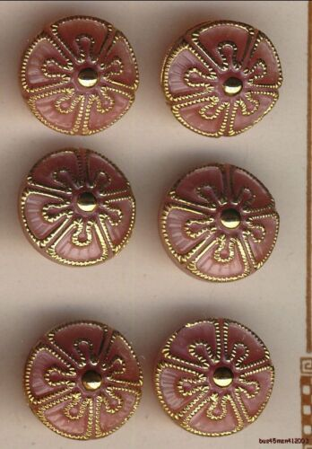 """3 Sets of 6 Gold Accented Design on Pink Cone Shaped Czech Glass Buttons .475"""""""