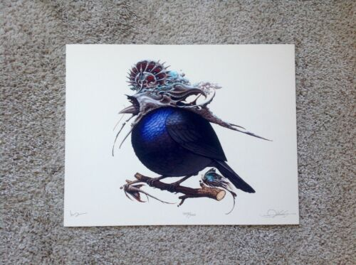 Helmeted Fatbird Aaron Horkey Mike Mitchell Collab Fat Bird Art Print Mondo