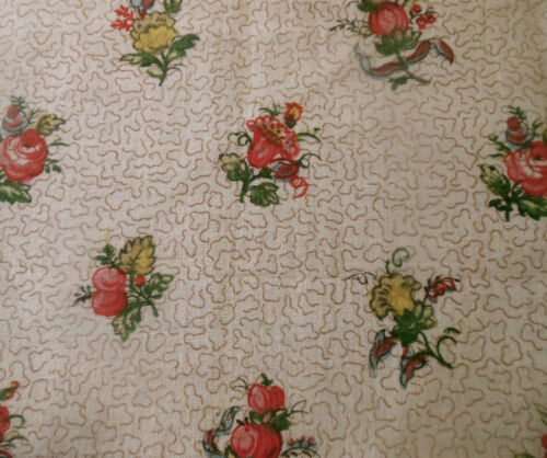 Antique French Floral Fruit Cotton Fabric ~ Red Pink Yellow Green ~ Paul Dumas
