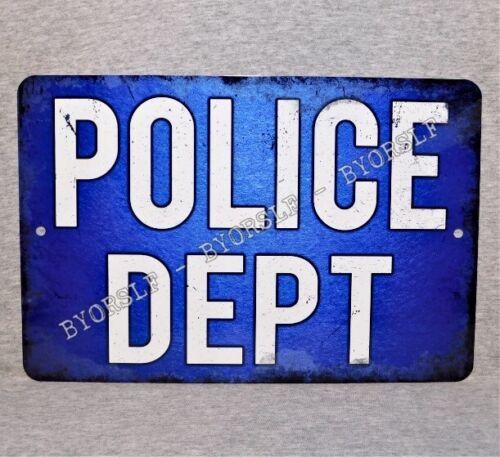 Metal Sign POLICE DEPARTMENT station officer law enforcement agency civil guard