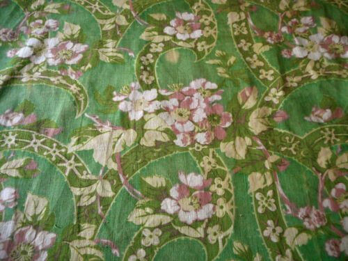 Antique Dogwood Blossom Cotton Floral fabric ~ Oxidized Apple Green Blush Yellow