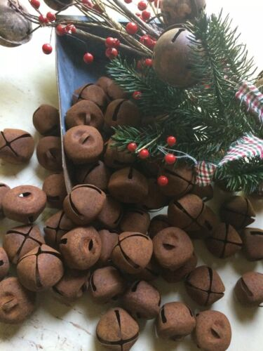 """72~Primitive Rusty Bell Tin JINGLE BELLS 30mm 1"""" 1 in Christmas Crafts Farmhouse"""