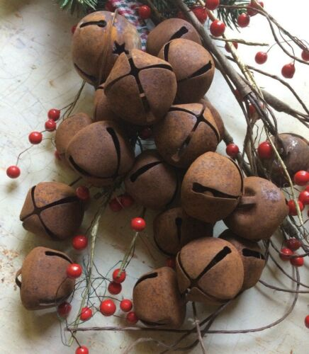 """12~Primitive Rusty Bell Tin JINGLE BELLS 30mm 1"""" 1 in Christmas Crafts Farmhouse"""